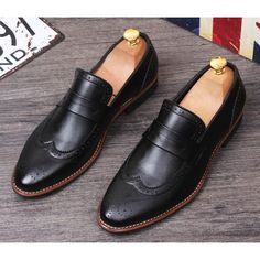 Mens Black Leather Retro Vintage Wedding Prom Dress Brogue Shoes SKU-1100005