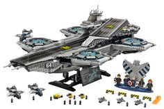 Construct and display a Lego Marvel Super Heroes model of The Shield Helicarrier with microscale Quinjets airplanes and ground vehicles. Lego Super Heroes The Shield Helicarrier 76042 Marvel Dc, Lego Marvel Heroes, Lego Batman, Legos, Shield Helicarrier, Avengers Shield, Avengers Age, Captain America, Lego Blocks