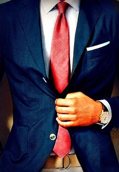 Can add a coral tie or bow tie with the navy suit coat