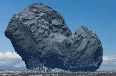 Graphic shows the size of Rosetta's comet relative to Los Angeles.