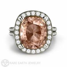 5ct Morganite Ring Morganite Engagement Ring Cushion Diamond Halo 14K Gold Custom Wedding Ring