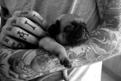 Tattooed Guy with Dog / Animal Best Friends Black and white photography