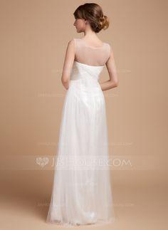 Empire Scoop Neck Floor-Length Tulle Wedding Dress With Ruffle (002014502)