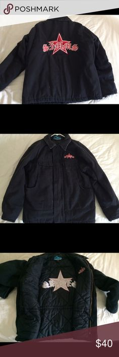 Men's Simms Motorcycles jacket Black Men's Simms Motorcycles jacket. Quilted lining with drawstring waist to keep out the cold. Embroidered back and over the left breast. Corduroy collar. Some discoloration on the front. Full zip and Velcro closure. Simms Motorcycles Jackets & Coats Bomber & Varsity