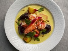 Butter-poached Lobster with Asparagus-Saffron Cream and Roasted Beets from the Oyster Club, Mystic CT. via saveur