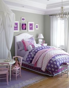 Girls Bedroom - I love the idea of hanging a canopy above the play table!