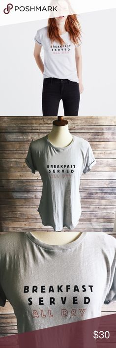 NWT Breakfast Whisper Cotton Crewneck Tee While on a road trip through upstate New York, two of our designers hit up an old-school diner and came away with an idea for a new Whisper Cotton tee. Breakfast served all day? We'll take two. With a side of hash browns.    True to size. Cotton. Machine wash. Madewell Tops Tees - Short Sleeve