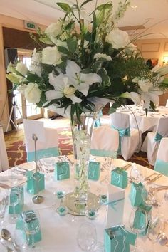 visit to find supplier details - teal & silver wedding theme Sage Wedding, Aqua Wedding, Dream Wedding, Turquoise Wedding Decor, Turquoise Weddings, Wedding Reception Decorations, Wedding Themes, Wedding Centerpieces, Wedding Table