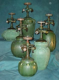 At Century Studios we are pleased to offer over 65 reproduction lamp bases and chandelier fixtures to compliment our stained glass shades. Antique Lamps, Vintage Lamps, Vintage Pottery, Mccoy Pottery, Pottery Art, Chandeliers, Tiffany Lamps, Stained Glass Lamps, Light Crafts