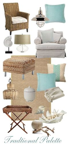 Classic scheme for beach cottage style decorating. Whites, light blues, natural textures and beachy decorations. #beachdecor
