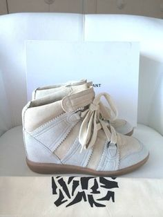 d4e83d8d83fa Isabel Marant Beige Bluebell Hidden Chalk White Ivory Wedge High Top  Sneakers 37 Sneakers Size US 7 Regular (M