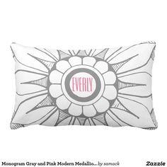 Monogram Gray and Pink Modern Medallion Pattern Throw Pillow