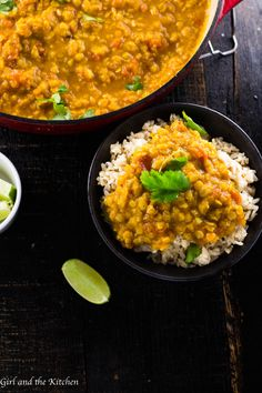 This vegetarian yellow lentil dal recipe is is served with curry and fragrant basmati rice! Enjoy this delicious dal on it's own for a hearty warming meal, or served over your favorite grains for a quick and healthy mid-week meal! Plus, this recipe is made in one pot using pantry staples - lentils and rice! You're going to love this flavorful vegetarian recipe with Indian flavors. #indianrecipes #ricerecipes #lentils #vegetarianrecipes #meatfree #curry