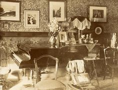 Late Victorian room interior. With the requisite piano, of course.