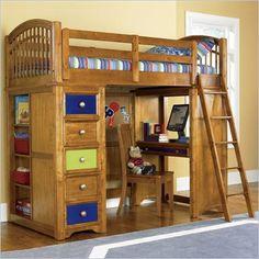Pulaski Build-A-Bear Bearrific Kids Wood Loft Bunk Bed in Cocoa Finish ...