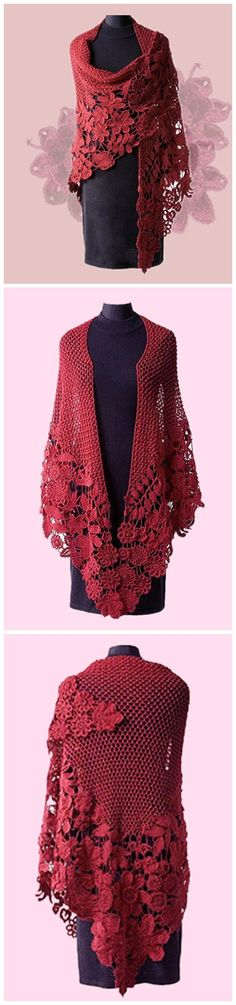 Elegant long crocheted shawl, make me this please. by leanne Shawl Crochet, Crochet Shawls And Wraps, Freeform Crochet, Knit Or Crochet, Crochet Scarves, Irish Crochet, Crochet Clothes, Shawl Patterns, Crochet Patterns