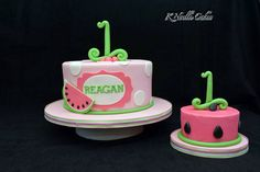 1st birthday cake with watermelon theme by K Noelle Cakes