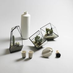 Planters by Score + Solder, Pitcher by Elke van den Berg, Cups by Alissa + Nienke, Concrete Shaving set by Iris Hantverk