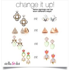 earring change up! by aimee-jordan-butier on Polyvore featuring Stella & Dot, stelladot, earrings and stelladotstyle