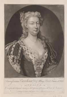 John Faber Junior (c. 1684-1756)  Serenissima Carolina D. G. Mag: Brit: Fran: et Hib: REGINA  c.1735-56 Engraving | RCIN 603936