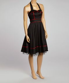 Look what I found on #zulily! HEARTS & ROSES LONDON Black & Red-Trim Halter Dress by HEARTS & ROSES LONDON #zulilyfinds