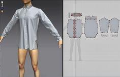 Basic block Clothing with Marvelous Designer. 3d Fashion, Virtual Fashion, Fashion Design, Zbrush, Study Outfit, Mens Shirt Pattern, Shirt Tutorial, Pattern Blocks, Block Patterns