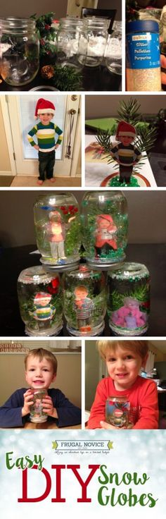 These DIY snow globes are easy and fun - your kids will love making them with you; this is a cute, cheap, kid-friendly Christmas decor craft, and they'll love having something custom with their photo in it! It's a great gift idea for grandparents, too!