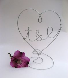 Personalized HEART Cake topper with your Initials