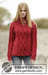 "Knitted DROPS jumper with cables and high collar in ""Alaska"". ~ DROPS Design"