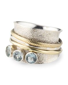 Made In India Sterling Silver Brass And Blue Topaz Spinner Ring