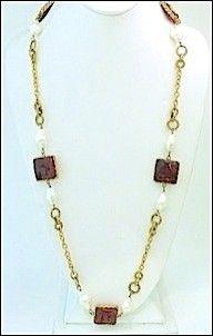 Vintage Chanel 1983 Cranberry Gripoix Glass & Faux Pearl Sautoir