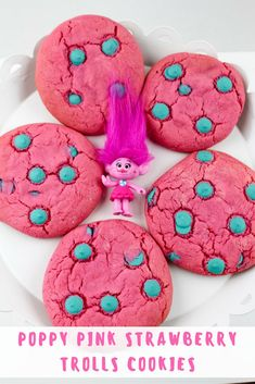 Poppy Pink Strawberry Trolls Cookies