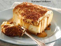 Karamel-melktert Komplimente : HUISGENOOT Genoeg vir mense Bereidingstyd: 20 minute Gaarmaaktyd: 15 minute Afkoeltyd: oornag 250 g Tennis-koekies, fyn gedruk 200 g botter, gesme. Tart Recipes, Baking Recipes, Sweet Recipes, Dessert Recipes, Oven Recipes, Curry Recipes, Instant Pudding, Ma Baker, South African Recipes