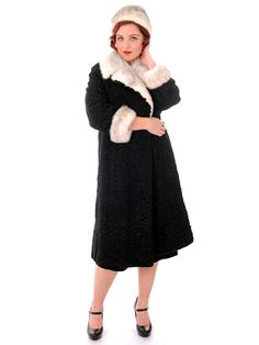 0f5568a7834 Vintage Ladies Coat Black Persian Lamb Mink Silver Mink Trim   Hat 1950s