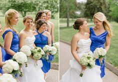Royal blue bridesmaids dresses for Lauren & James' wedding at Westwood Country Club, by Hunter Photographic.