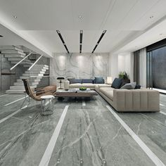 Grey Marble Effect extra large porcelain tiles on the floor of this modern lounge. Large Floor Tiles, Chinese Interior, Modern Lounge, Marble Effect, Living Room Flooring, Grey Flooring, Decor Interior Design, Interior Decorating, Floor Design