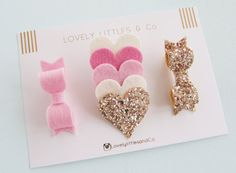Baby/girl Wool felt hair clip set. Pink Hearts clip, gold glitter bow and pink felt bow