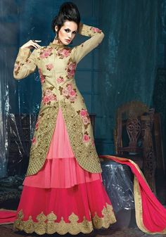 Exotic Golden, Coral Pink and Fuchsia Designer Gown