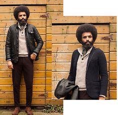 Dualleh Abdulrahman - Zara Cotton Blazer, G.H Bass & Co Half Buttoned Sweater, Lc Walkiki Leather Jacket, Zara Suede Brown Boots, We Flannel Pants Purple - FM2