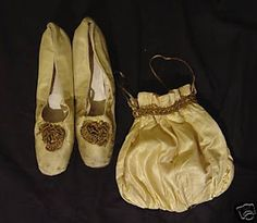 7. Reticules or Indispensibles - small handbags, often with a drawstring at the top.  (Definitions from textbook) This is a reticule with matching shoes.