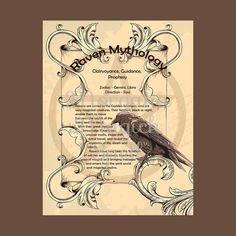 RAVEN MYTHOLOGY, Digital Download,  Book of Shadows Page, Grimoire, Scrapbook, Spells, Wiccan, Witchcraft,