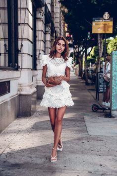 My new favorite white mini lace dress! So chic and cute for date night. Paired it with Bottega Veneta accessories - white leather strappy sandals and neutral clutch Trends, Mode Inspiration, White Fashion, Fashion Outfits, Womens Fashion, Spring Summer Fashion, Spring Style, Lace Skirt, Lace Dress