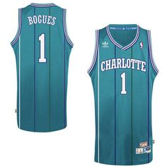 ffef5e577 adidas Muggsy Bogues Charlotte Hornets Teal Hardwood Classics Swingman  Jersey Charlotte Hornets