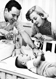 Newlyweds Jack Lemmon and Cynthia Stone at home with son Chris Lemmon posing for a 1955 movie magazine spread