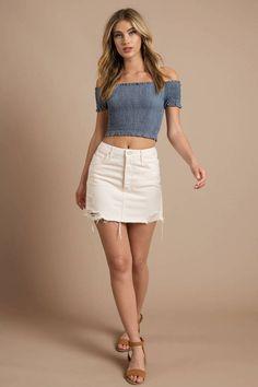 Boyish Jeans The Corey Distressed Denim Skirt – Fashion High Waist Shorts Women Sexy Outfits, Sexy Dresses, Summer Outfits, Cute Outfits, Fashion Outfits, Fashion Goth, Womens Fashion, White Denim Skirt, Denim Skirt Outfits