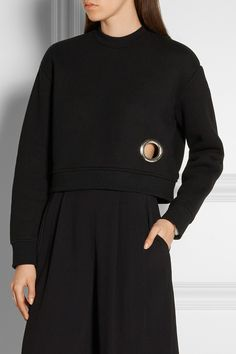 T by Alexander Wang | Eyelet-embellished cotton-blend fleece sweatshirt | NET-A-PORTER.COM