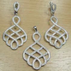 Micro Setting White CZ 925 Sterling Silver Fancy Shape Jewelry Set