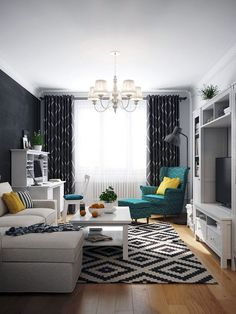 Гостиная в цветах: Белый, Светло-серый, Серый, Черный, Синий. Гостиная в стиле: Скандинавский.
