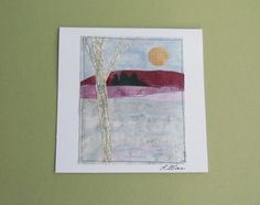 Winter Birches Original Fabric Collage Note Card.