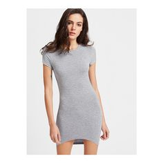 SheIn(sheinside) High Low Bodycon Tee Dress ($8) ❤ liked on Polyvore featuring dresses, grey, t shirt dress, sexy bodycon dresses, body con dress, sexy short dresses and short bodycon dresses